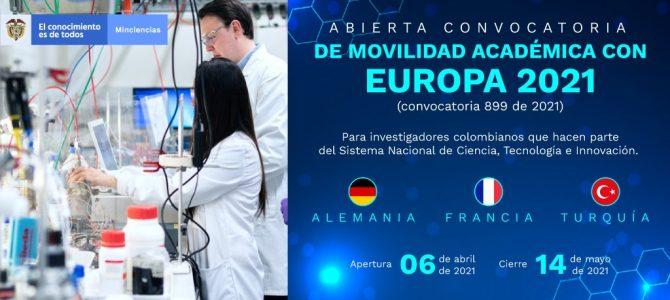 Convocatoria 899 de Minciencias: movilidad académica con Europa